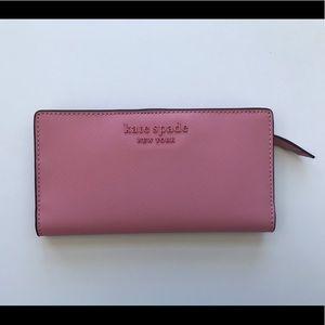 Kate spade pink large slim bifold wallet NEW